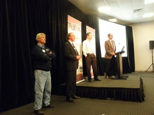 Photo: L to R - Breakfast Speakers: Andrew Michael, James Rowe, Ben Hayes and Rob Banks